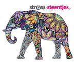 Diamond Painting pakket - Kleurrijke olifant met speciale vormstenen 30x30 cm (Special)