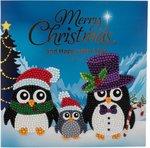 Diamond Painting Kerstkaart - 3 pinguins met hoed en muts (Partial met ronde steentjes)
