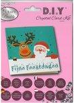 Diamond Painting Kerstkaart - Fijne Feestdagen met kerstman en rendier (Partial met ronde steentjes)