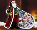 Diamond Painting pakket - De kerstman met een kerstdorpje in zijn jas 65x50 cm