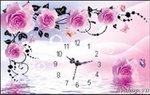Roze Rozen met klok 40x55 cm