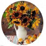Diamond Painting pakket - Klok met vaas met zonnebloemen 40x40 cm