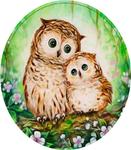 Diamond Painting op Frame - Uiltje met jong in ronde lijst 25x25 cm (Partial)