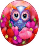 Diamond Painting op Frame - Uiltje verstopt tussen de bloemen in ronde lijst 25x25 cm (Partial)