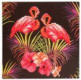 Diamond Painting Ansichtkaart - Roze Flamingo's (Partial met ronde steentjes)