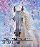 Diamond Painting pakket - Wit paard onder een bloesemboom 25x30 cm (full)_