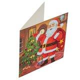 Diamond Painting Kerstkaart - Kerstman met kerstboom (Partial met ronde steentjes)_