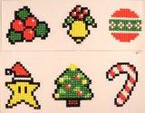 Diamond Painting Stickers - Set Kerstfiguurtjes (o.a. zuurstokje) - 6 stuks
