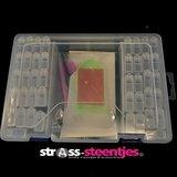 Diamond Painting opbergdoos / sorteerkoffertje met 42 fliptop doosjes plus benodigdheden dicht