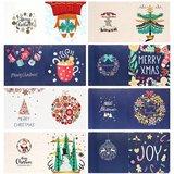 Diamond Painting Kerstkaarten - Set van 8 stuks inclusief o.a. Joy (Partial) vormen special_