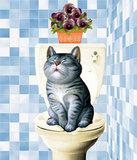 Diamond Painting pakket - Kat op de wc-pot 40x45 cm (full)_