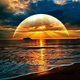 Diamond Painting pakket - Ondergaande zon boven het water 60x60 cm (full)_