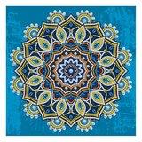 Diamond Painting pakket - Mandala op blauwe achtergrond - Glow in the Dark 30x30 cm (Partial)