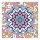 Diamond Painting pakket - Mandala met witte bloemetjes - Glow in the Dark 30x30 cm (Partial)