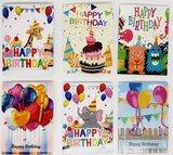 Diamond Painting verjaardagskaarten - Set van 6 stuks (Partial met ronde steentjes)