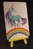 Diamond Painting op schildersezeltje - Eenhoorn op een regenboog 10x15 cm (Partial)_