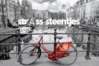 Diamond Painting pakket - Rode fiets op een brug in Amsterdam 45x30 cm (full)