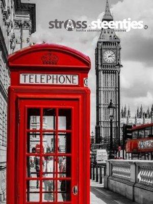 Diamond Painting pakket - Rode telefooncel bij de Big Ben in Londen 45x60 cm (full)