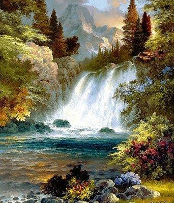 Diamond Painting pakket - Prachtige waterval met berg op de achtergrond 40X50 cm (full)