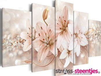 Diamond Painting pakket - Lelie 5 luik 2x20x30, 2x20x40, 1x20x50 cm (full)