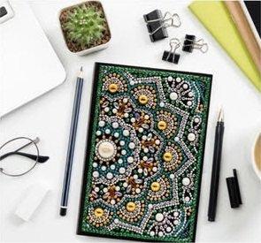 Diamond Painting Notitieboekje- Mandala groen-geel
