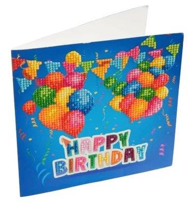 Diamond Painting verjaardagskaart - Happy Birthday met ballonnen (Partial met ronde steentjes)