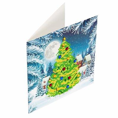 Diamond Painting Kerstkaart - Kerstboom (Partial met ronde steentjes)