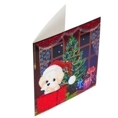 Diamond Painting Kerstkaart - Hondje in doos bij Kerstboom (Partial met ronde steentjes)