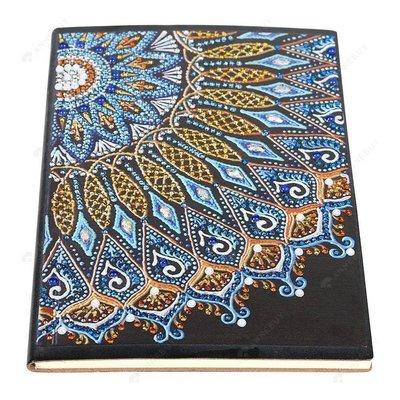 Diamond Painting Notitieboekje- Mandala blauw-geel