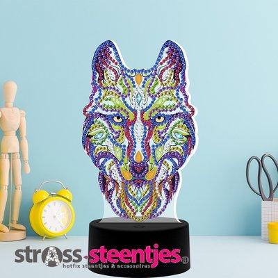 Diamond Painting Wolf - Tafellamp met LED