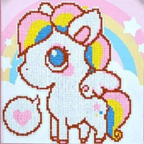 Diamond Painting pakket - Cartoon Pony 30x30 cm (Partial) ronde steentjes