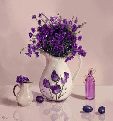 Diamond Painting pakket - Lavendel in een vaas 30x32 cm (full)