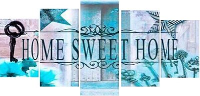 Diamond Painting pakket - Home Sweet Home Blauw 5 luik 2x20x30, 2x20x40, 1x20x50 cm (full)