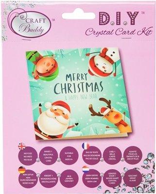 Diamond Painting Kerstkaart - Merry Christmas Elf,kerstman,sneeuwpop en rendier (Partial met ronde steentjes)