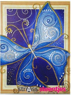 Diamond Painting pakket - Blauwe Vlinder met speciale vormstenen 40x50 cm (Special)