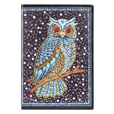 Diamond Painting Notitieboekje- Blauwe Uil op Tak