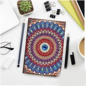 Diamond Painting Notitieboekje- Mandala blauw-rood