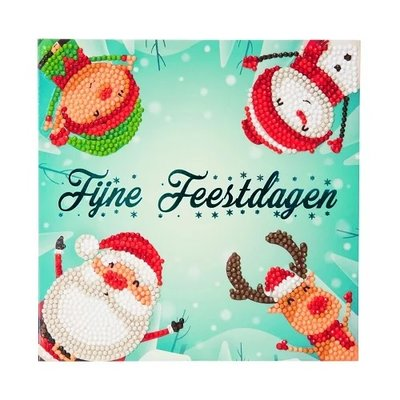 Diamond Painting Kerstkaart - Fijne Feestdagen Elf,kerstman,sneeuwpop en rendier (Partial met ronde steentjes)
