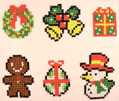 Diamond Painting Stickers - Set Kerstfiguurtjes (o.a. speculaaspoppetje) - 6 stuks