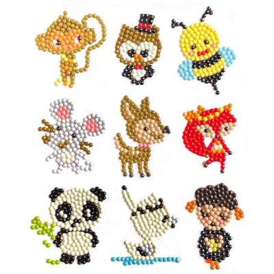 Diamond Painting Stickers - Set kleine Diertjes - 9 stuks