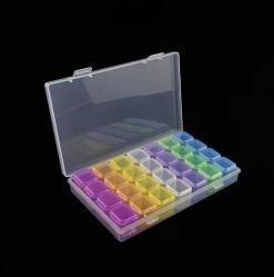 Opbergdoos / sorteerbakje met 28 potjes regenboog