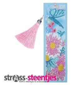 Diamond Painting Boekenlegger - Roze bloemen met blauwe vlinder 5x20 cm