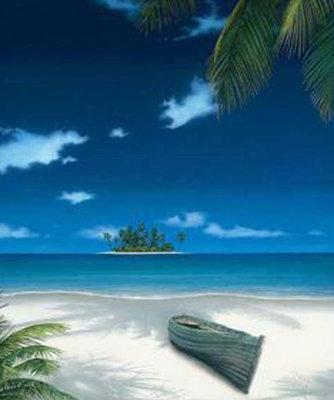 Diamond Painting pakket - Tropisch eiland in de zee 30x35 cm (full)