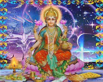 Diamond Painting pakket - Buddha met 4 armen, geld en waterlelies 30X38 (full)