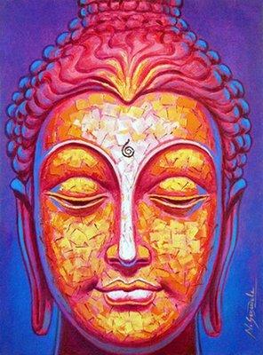 Diamond Painting pakket - Buddha geel rose blauw 30x40 cm (full)