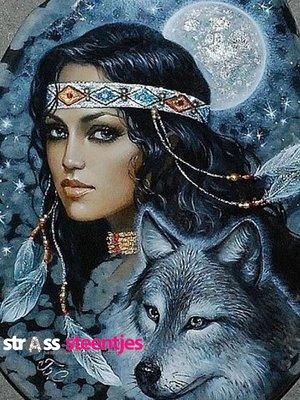 Diamond Painting pakket - Indiaan met wolf 30x40 (full)