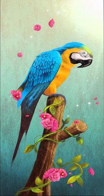 Diamond Painting pakket - Blauwe gele ara papegaai op een stronk 30x56 cm (full)