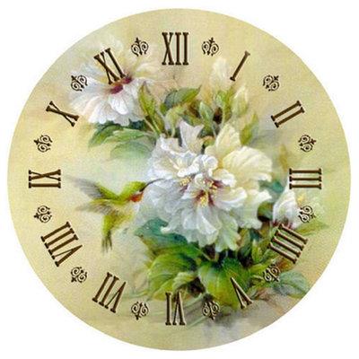 Diamond Painting pakket - Klok met witte bloemen en een kolibrie 40x40 cm (full)