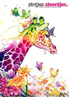 Diamond Painting pakket -  Gekleurde Giraffe met vlinders 40x55 cm (full)