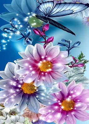 Diamond Painting pakket - Betoverende bloemen met vlinder 50x70 cm  (full)